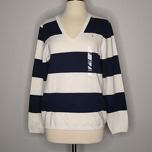 Tommy Hilfiger Navy White Nautical Preppy Top LG